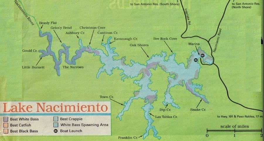 Lake nacimiento fishing report fishing map how to fish for Local fishing forecast