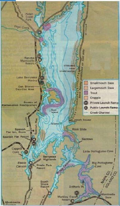 Lake berryessa trout bass fishing map fishing report for Berryessa fishing report