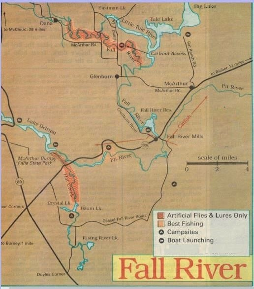 Upper Sacramento Fishing Map best areas where to fish