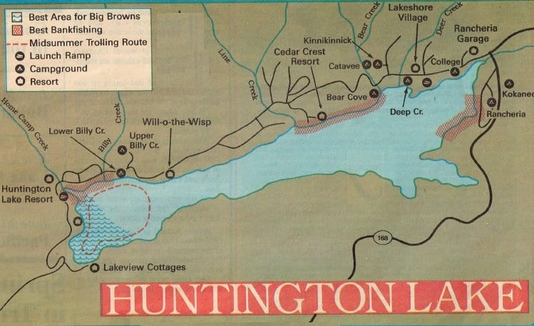 Huntington lake fishing map and report best areas how to for Fresno fishing report 2017