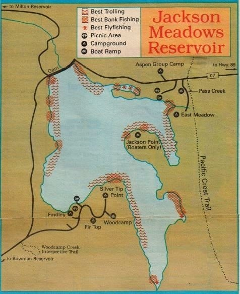 Jackson meadow fishing maps fishing report best areas for Lake jackson fishing report