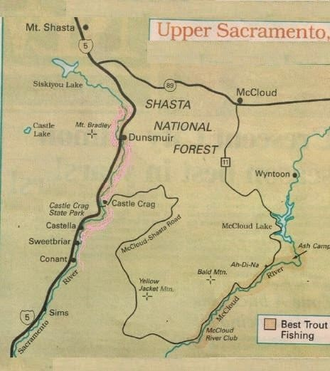Fishing report map upper sacramento river best areas for Fishing spots in sacramento