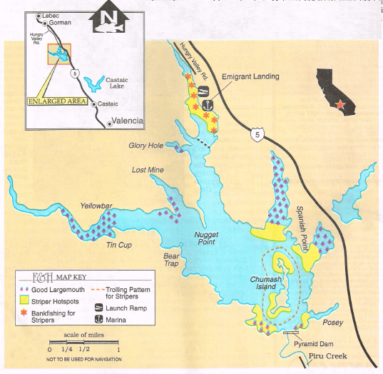 Pyramid lake fishing map and report how to fish this lake for Pyramid lake ca fishing report