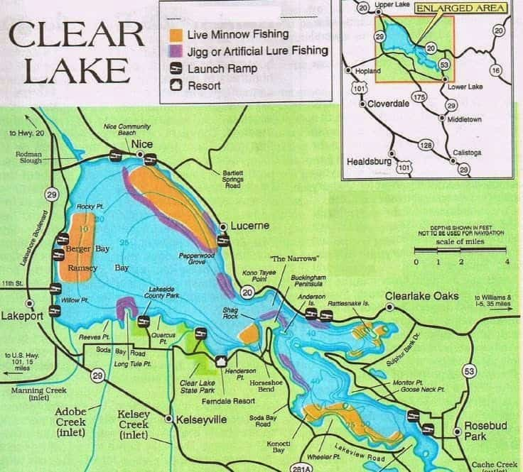 Clear lake california bass fishing map fishing report to for Best places to fish in california