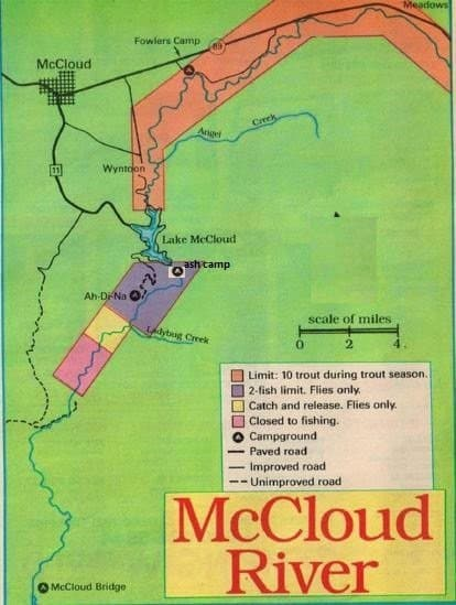 Mccloud river 2017 fishing report and fishing maps best areas for Public fishing areas