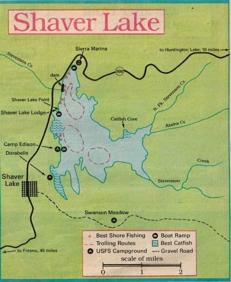 Shaver lake fishing map fishing report to best areas for Bass fishing lakes near me