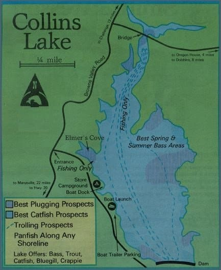 Collins Lake Fishing Map, reports best areas and where to ...