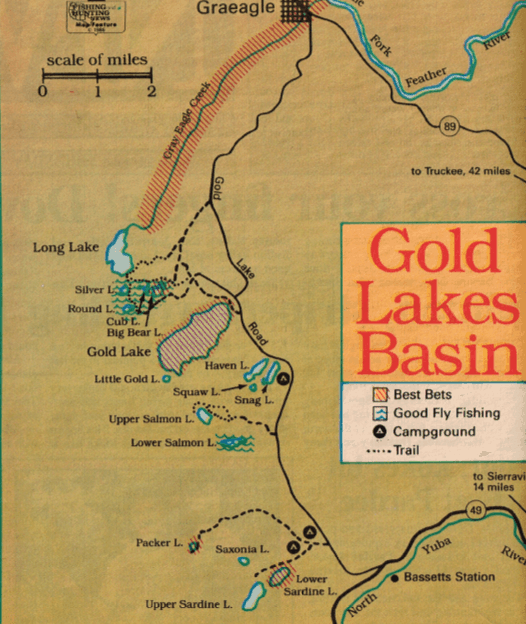 how to fish gold lakes, fishing map california