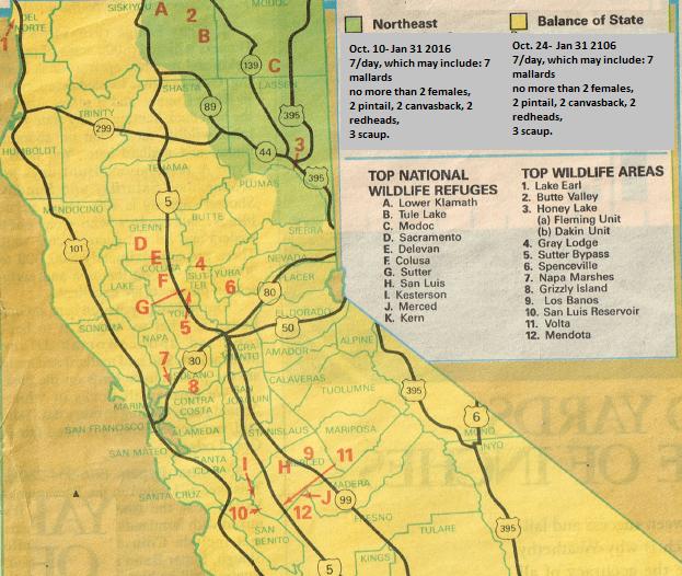 CALIFORNIA DUCK REFUGE MAPS